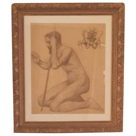 Rare Original Victorian Framed Figure Drawing - Image 1 of 7