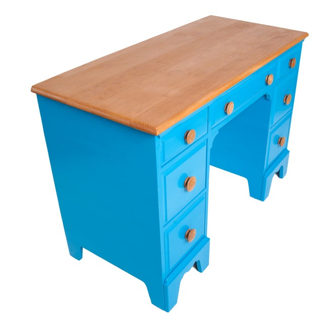 Vintage Painted Blue Maple Knee Hole Desk - Image 2 of 4