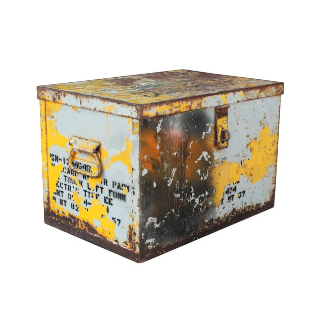 Yellow Metal Trunk - Image 1 of 3