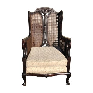 Antique Cane Louis XV Wingback Chair