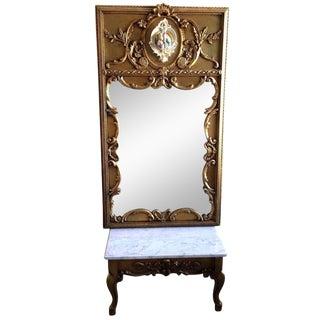 Vintage Capodimonte Mirror & Marble Top Bench