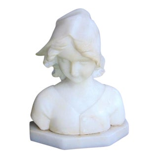 Vintage Marble Girl Bust Sculpture on Base