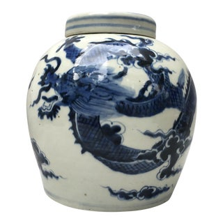 Blue & White Ginger Jar With Chinese Dragon