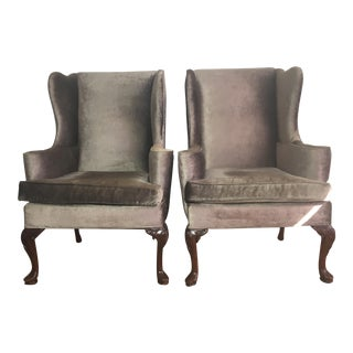 Gunmetal Silk Velvet Upholstered Wingback Chairs - A Pair