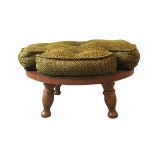 Clover Tweed Footstool, Vintage Mid Century