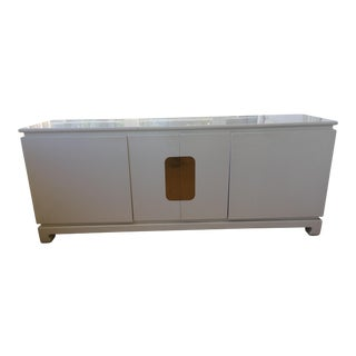 White Lacquered 5 Drawer Credenza