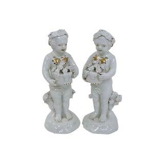 Antique English Porcelain Cherubs - A Pair