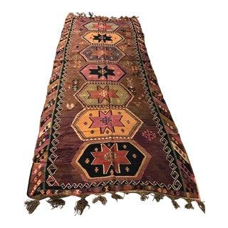 Vintage Anatolian Kars Kilim Rug - 4'6'' x 11'5''
