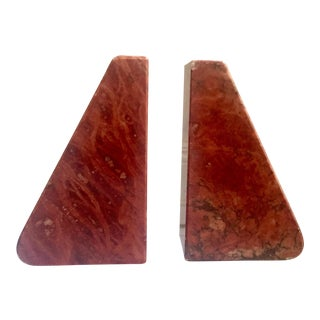 Mid-Century Hand Carved Italian Red Alabaster Bookends - A Pair