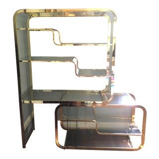 Milo Baughman for DIA Mid-Century Modern Brass & Glass Etagere - A Pair