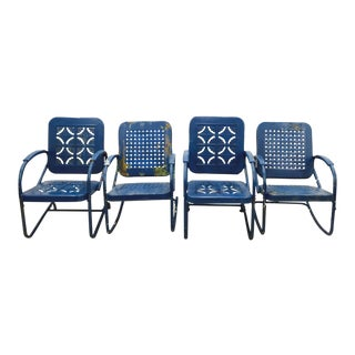Blue Metal Outdoor Chairs - Set of 4