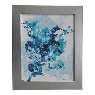 Blue Breeze 1 Abstract Blue and White Framed Painting by L. Paul