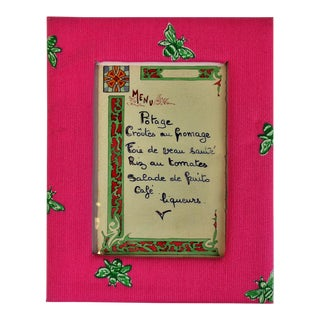 1920's Paris Restaurant Menu With Lilly Pulitzer Pink & Lime Frame""