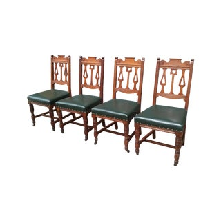 Antique Leather Chairs - Set of 4