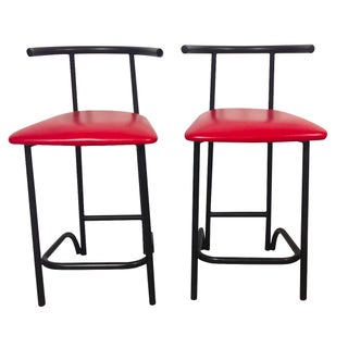 Italian Tubular Metal & Red Leather Stools - Pair