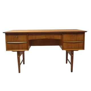 Danish Modern Dual Sided 5 Drawer Desk