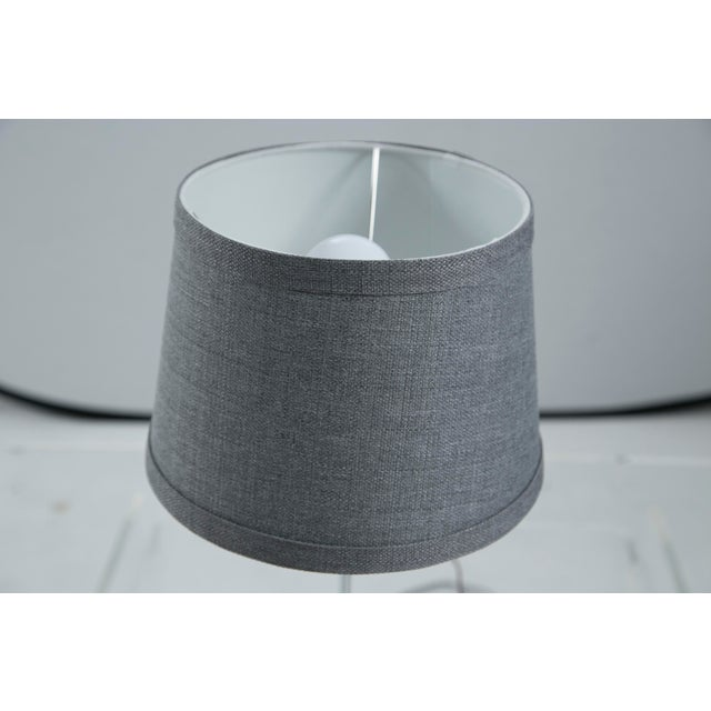 Image of Chrome Task Lamp with Gray Linen Shade