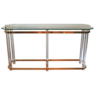 Charles Hollis Jones Style Brass & Lucite Console