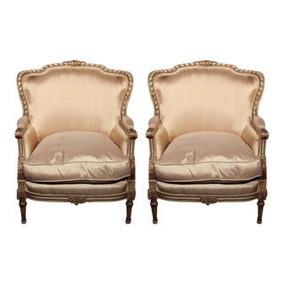 French Louis XVI Style Bergère Chairs - A Pair