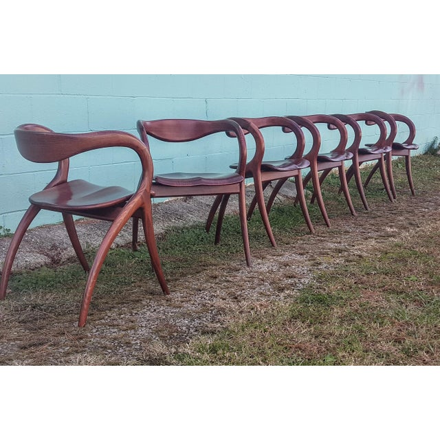 Vintage Solid Curved Cherry Wood Dining Chairs - Set of 6 - Image 4 of 9
