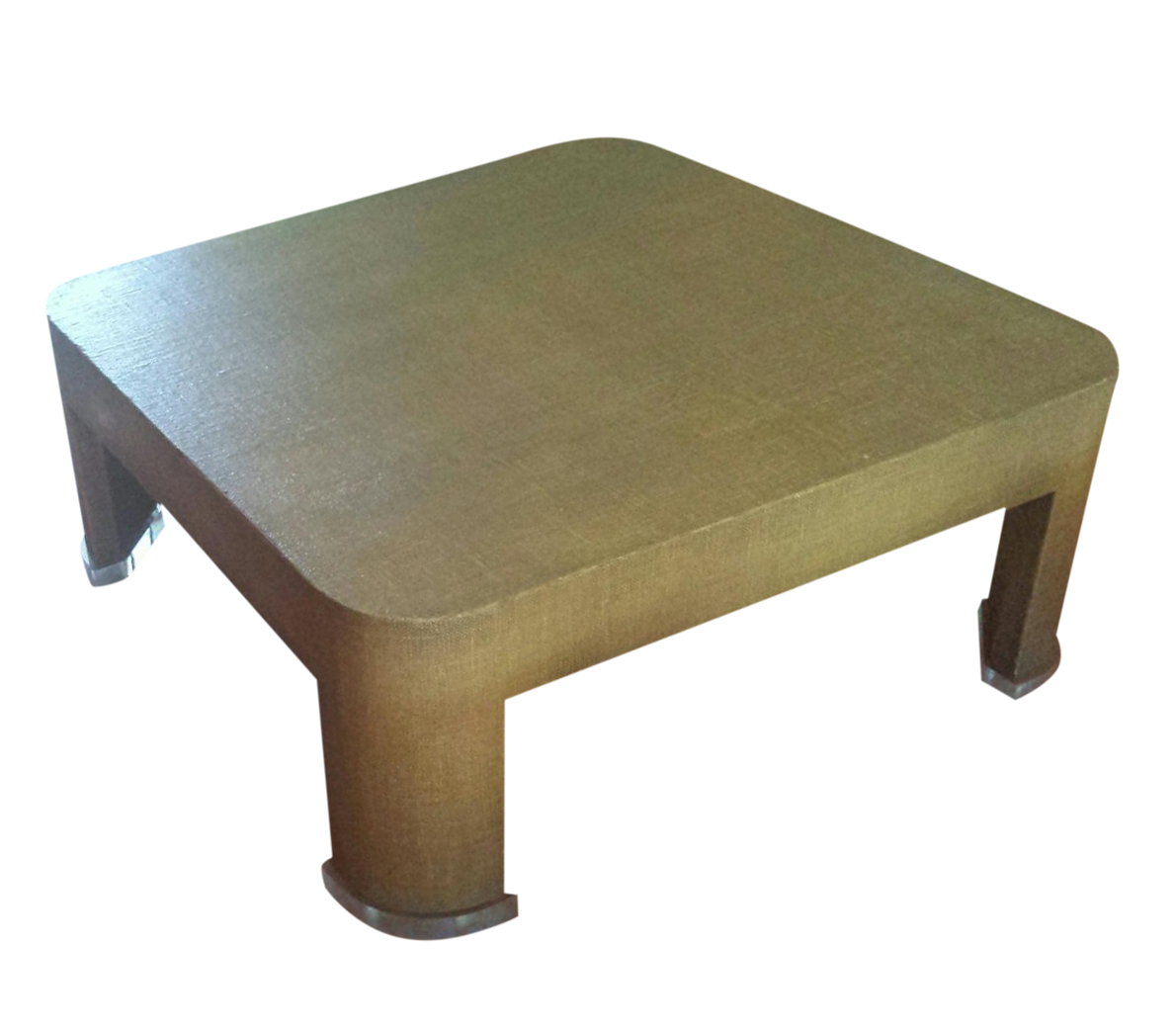 square grasscloth coffee table after karl springer | chairish