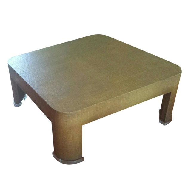 Square Grasscloth Coffee Table After Karl Springer Chairish