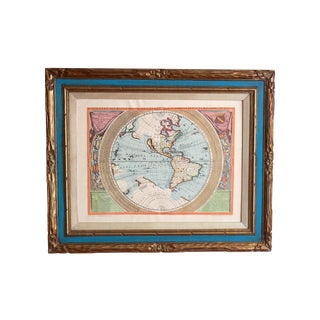 Coronelli Vintage New World Framed Map
