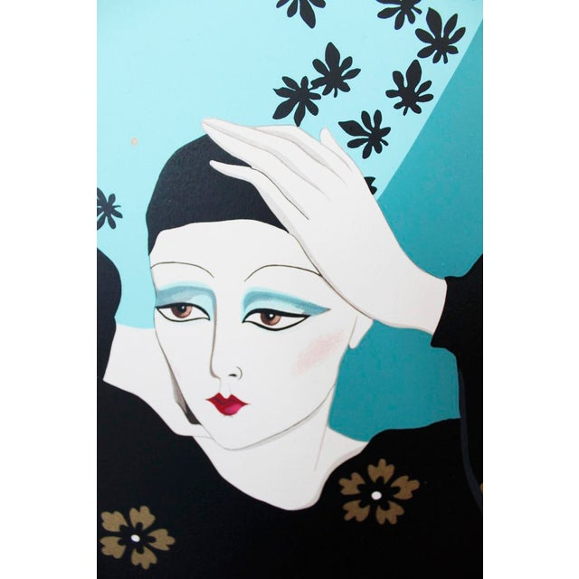 Weimar Deco Style Women Illuminated Gold Painting on Paper - Image 3 of 5