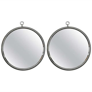 Mid-Century Round Silver Mirrors - A Pair