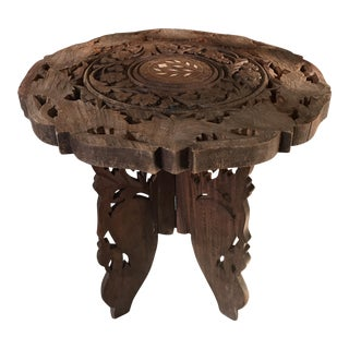Handcarved Indian Wooden Plant Stand Table