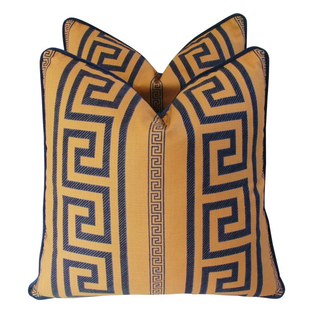 Designer Pierre Frey Greek Key Pillows - A Pair - Image 1 of 11