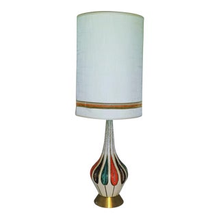 Mid-Century Ceramic Lamp & Matching Shade Orange and Teal