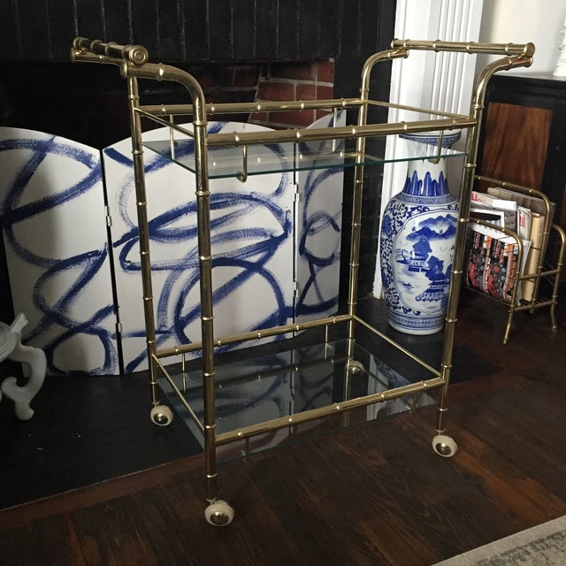 Image of Hollywood Regency Brass Faux Bamboo & Glass Rolling Bar Cart