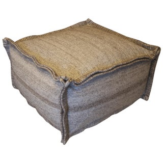 Taupe Grey Square Wool Pouf