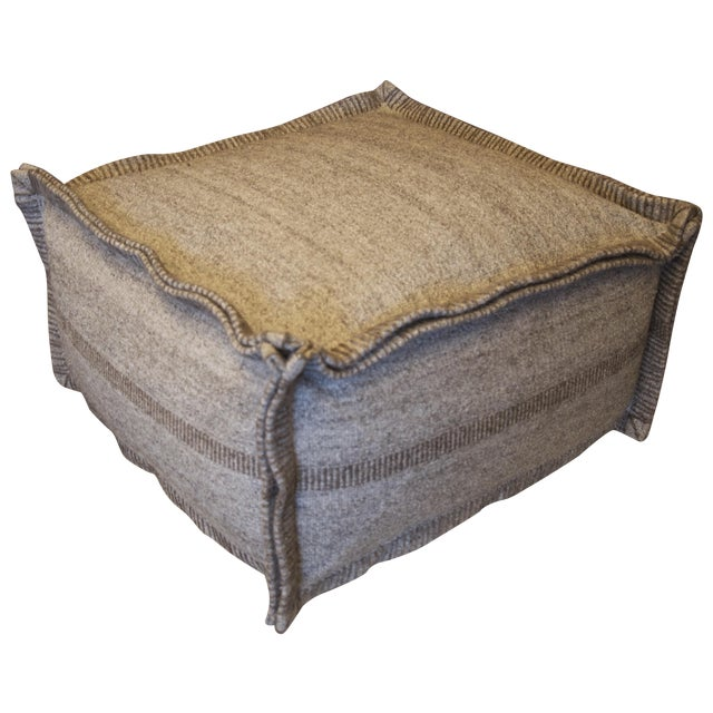 taupe grey square wool pouf chairish. Black Bedroom Furniture Sets. Home Design Ideas