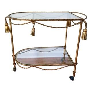 Vintage Italian Regency Tassel and Rope Bar Cart