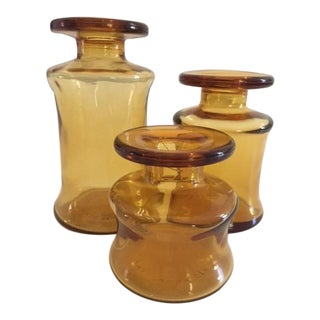 Dansk Amber Glass Candle Holders - Set of 3