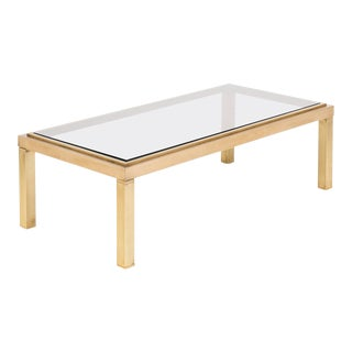 French Modernist Polished Brass Coffee Table