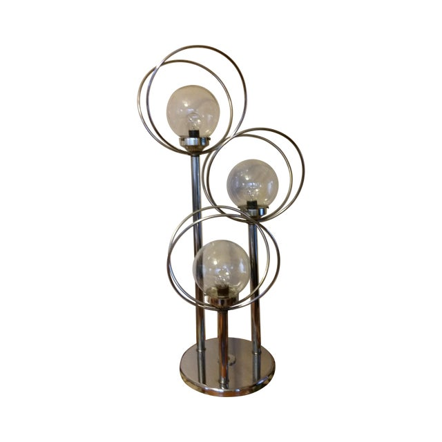 Mid Century 3 Way Chrome Lamp with Clear Bulbs - Image 1 of 6
