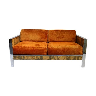 Milo Baughman Style 1970's Loveseat/Sofa