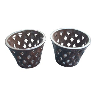 Chocolate Brown Orchid Pots - A Pair