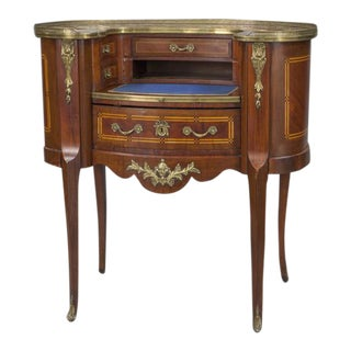 Early 20th Century French Louis XV Mahogany Kidney Shaped Ladies Desk