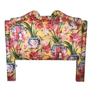 Chinoiserie Amaryllis Upholstered Headboard