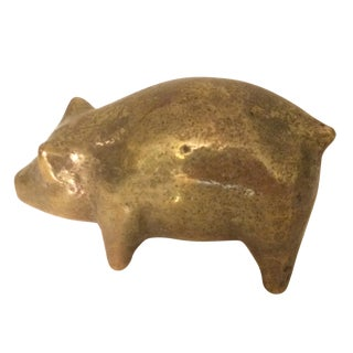 Small Vintage Brass Pig Paper Weight