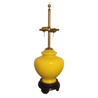 Vintage Norman Perry Lemon Yellow Glass Lamp