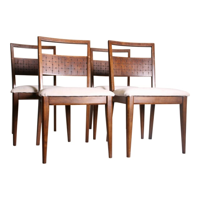 Mid century modern broyhill saga dining chairs set of 4 for Modern dining chairs ireland