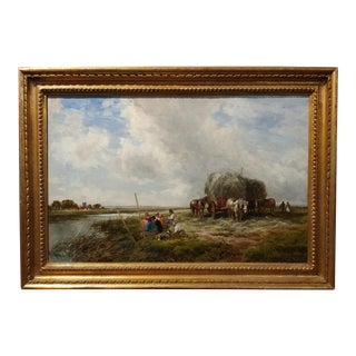 19th Century Edmund Morison Wimperis Harvesters Resting Oil Painting