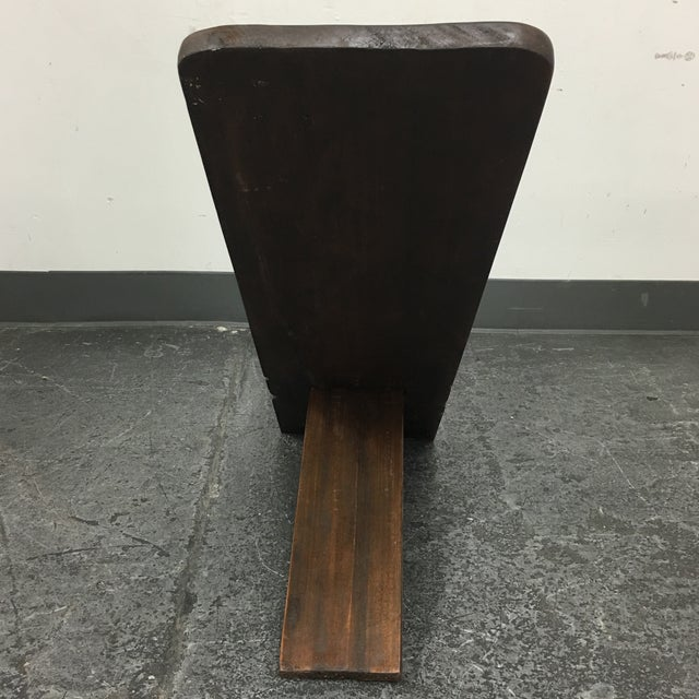 Hand Crafted Wooden African Chair - Image 9 of 9