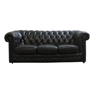 Vintage English Tufted Black Leather Chesterfield