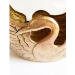 Image of Vintage Brass Swan Basket Planter